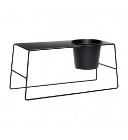 Table w/pot, black - HUBSCH
