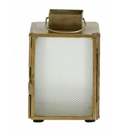 Lantern, brass w/frosted...
