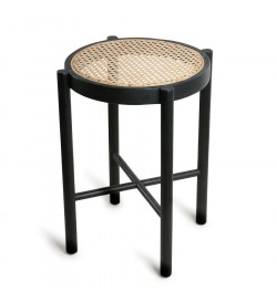 Retro webbing stool black -...