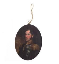 Portrait ovale sur bois