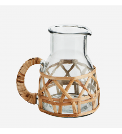 Glass and bamboo pitcher