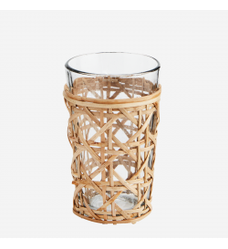 Glass with bamboo cane