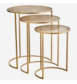 Trio de tables dorées