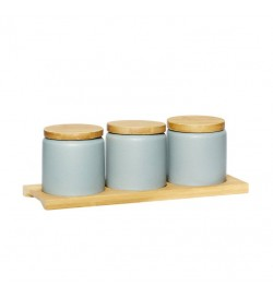 3 Jars with wooden lids