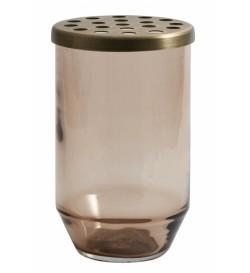 OAHU glass vase w/ lid,...