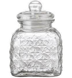 Muss Jar w/Lid, Clear, Glass